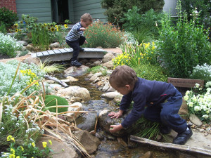 Children playing in the stream